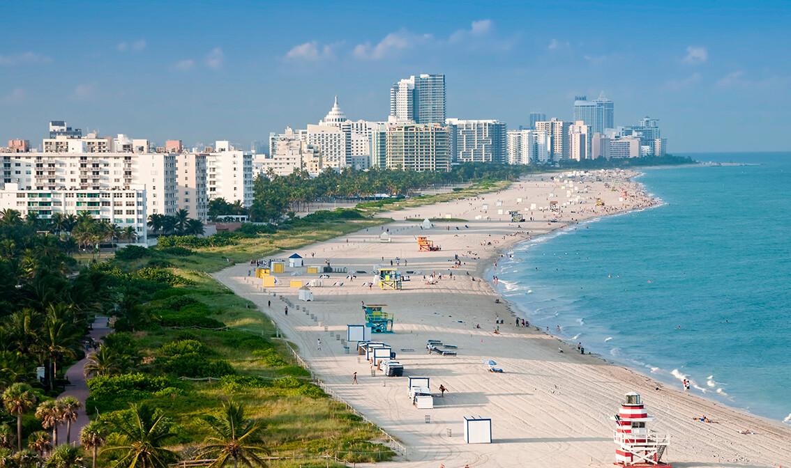 Pješčana plaža Miami beach, putovanje Florida, Amerika, garantirani polasci