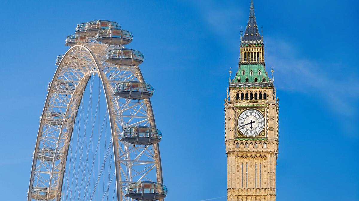 London Eye i Big Ben, putovanje London avionom