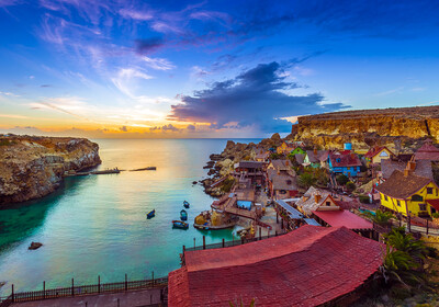 Popajevo selo Melieha, putovanje Malta, mediteran, posebnim zrakoplovom