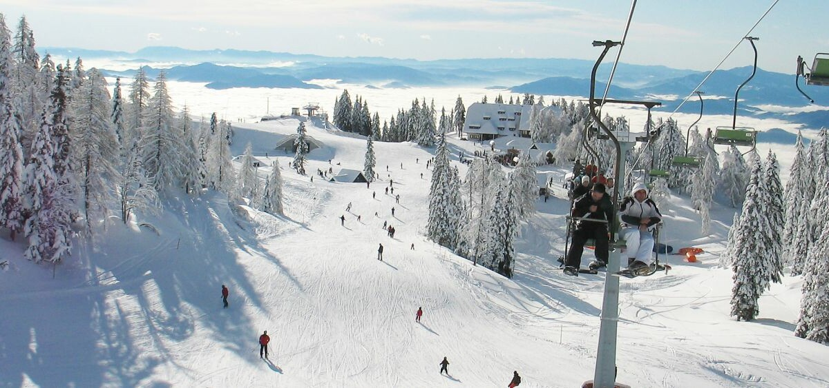 krvavec skijanje, gondola, panorma zima