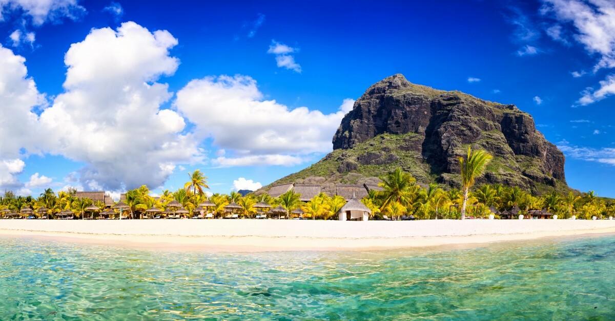 Mauricijus, panoramska slika otoka, daleko putovanje na Mauricijus,