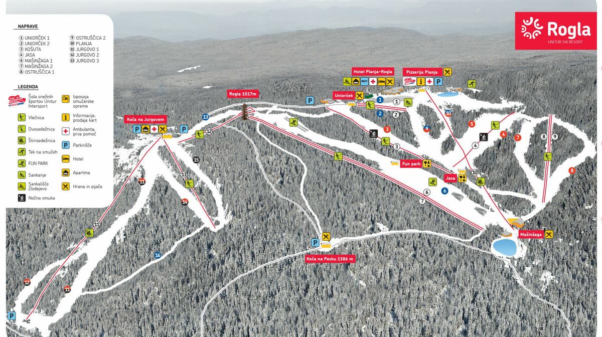 Rogla, ski map