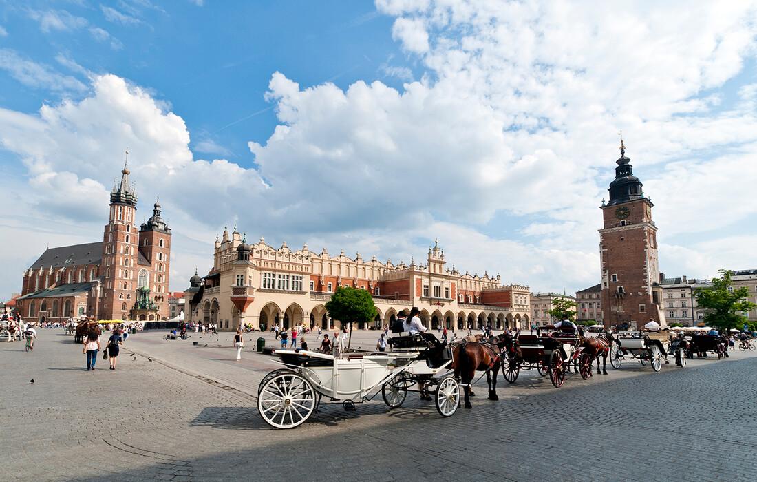 Poljska, Krakow, stari gradski trg