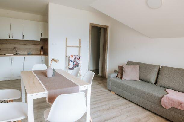 Skijanje i wellness u Sloveniji Apartmani Triglav, dnevna soba i kuhinja