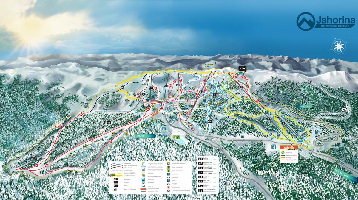 Ski karta Olimpijskog centra Jahorina.