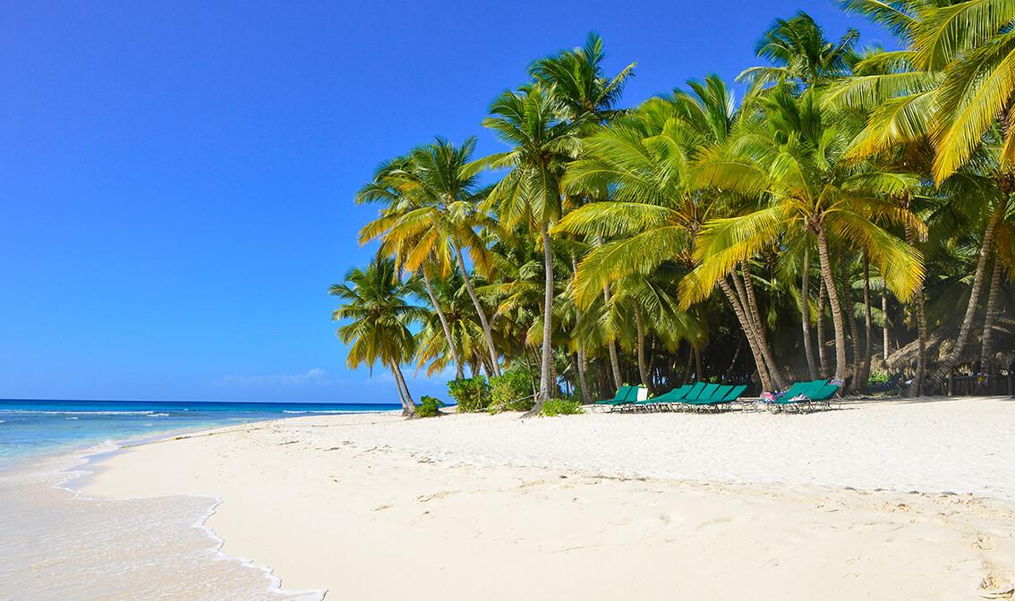 Pješčana plaža otok  Saona, odmor Dominikanska republika, karibi, odmor iz snova, daleka putovanja