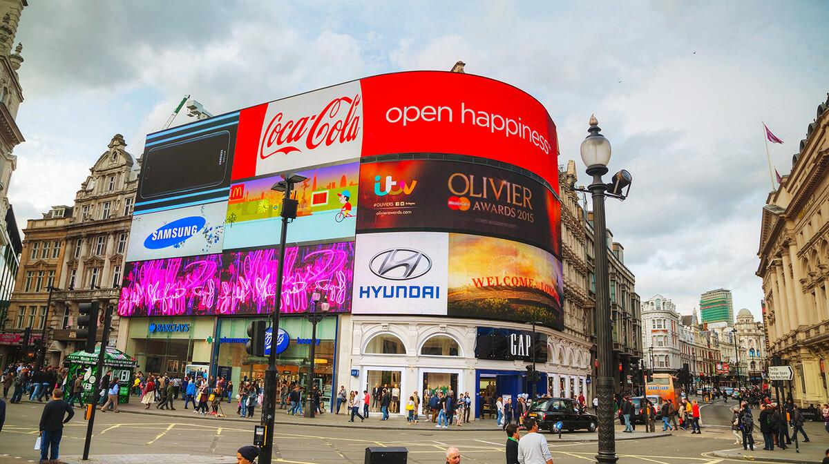 Reklame na trgu Piccadilly circus, putovanje u London