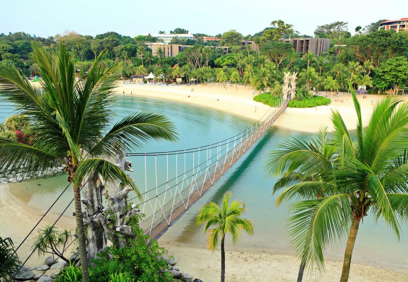Pješčana plaža na otoku Sentosa, putovanje Singapur, daleka putovanja