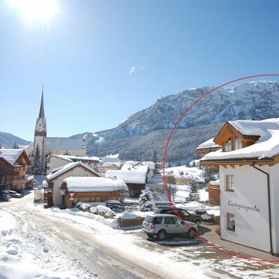 Skijanje u Italiji, Alta Badia, Badia/S.Leonardo, Apartmani Chalet Campagnola, pogled izvana